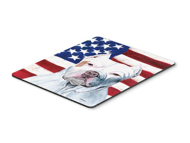 USA American Flag with Pit Bull Mouse Pad, Hot Pad or Trivet