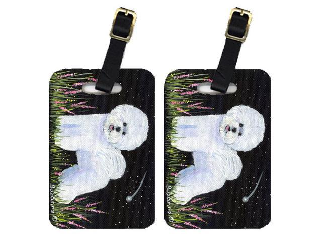 Pair of 2 Bichon Frise Luggage Tags