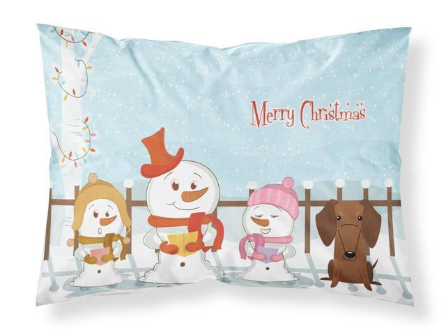 Merry Christmas Carolers Dachshund Red Brown Fabric Standard Pillowcase BB2461PILLOWCASE