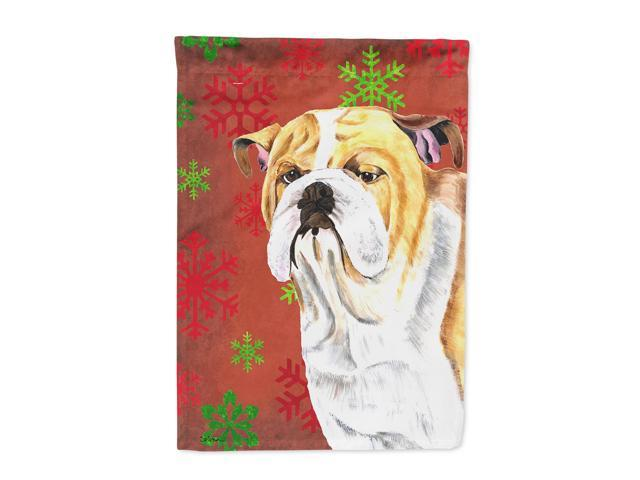 Bulldog English Red  Green Snowflakes Holiday Christmas Flag Canvas House Size