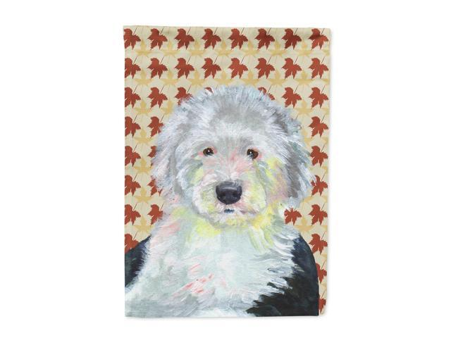 Old English Sheepdog Fall Leaves Portrait Flag Canvas House Size