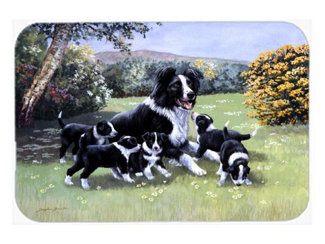 Border Collie Puppies with Momma Glass Cutting Board Large BDBA0257LCB