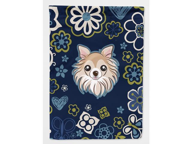Blue Flowers Chihuahua Flag Garden Size BB5102GF