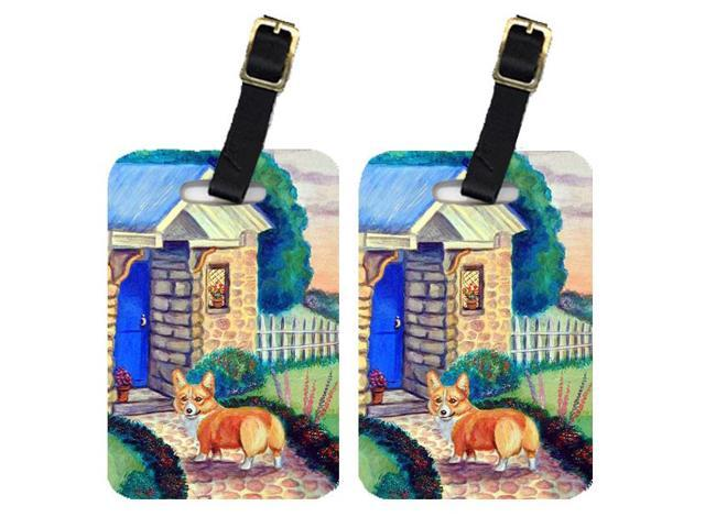 Pair of 2 Pembroke Corgi at the Cottage Luggage Tags