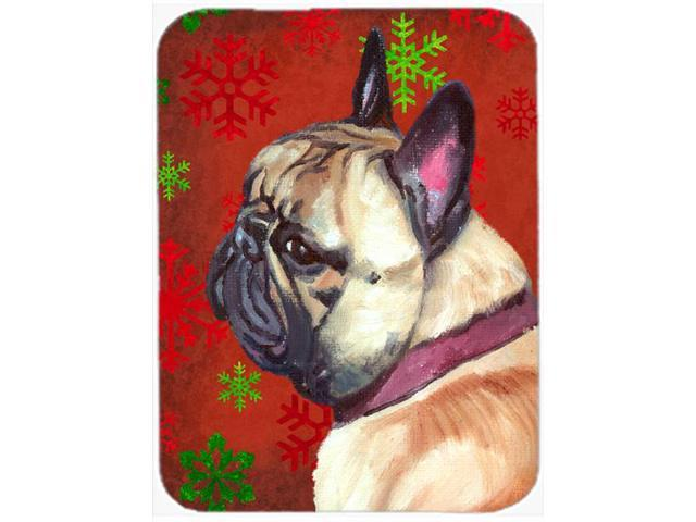French Bulldog Frenchie Red Snowflakes Holiday Christmas Glass Cutting Board Large LH9580LCB