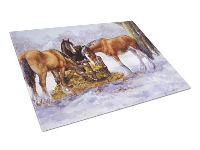 Horses eating Hay in the Snow Glass Cutting Board Large BDBA0297LCB