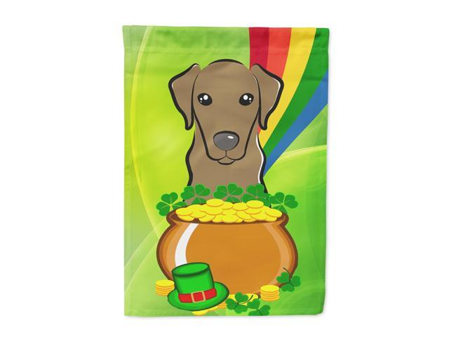 Chocolate Labrador St. Patrick's Day Flag Canvas House Size BB1978CHF
