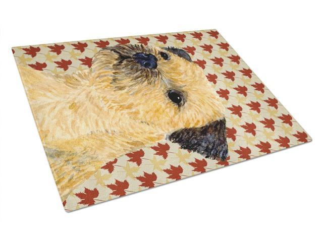 Border Terrier Fall Leaves Portrait Glass Cutting Board Large