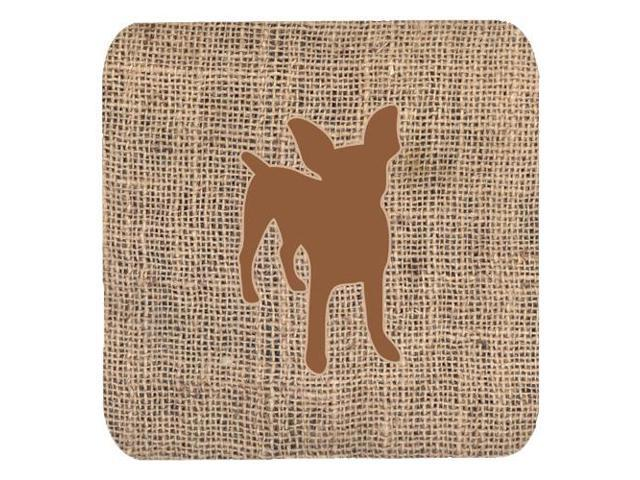 Set of 4 Chihuahua Burlap and Brown Foam Coasters
