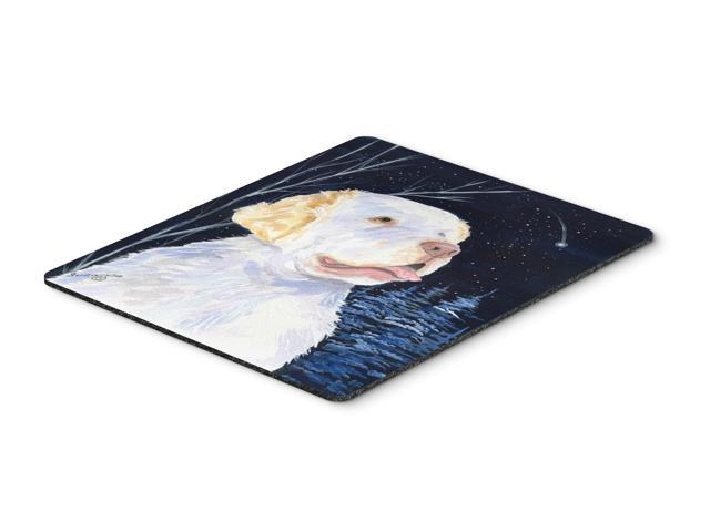 Starry Night Clumber Spaniel Mouse Pad / Hot Pad / Trivet