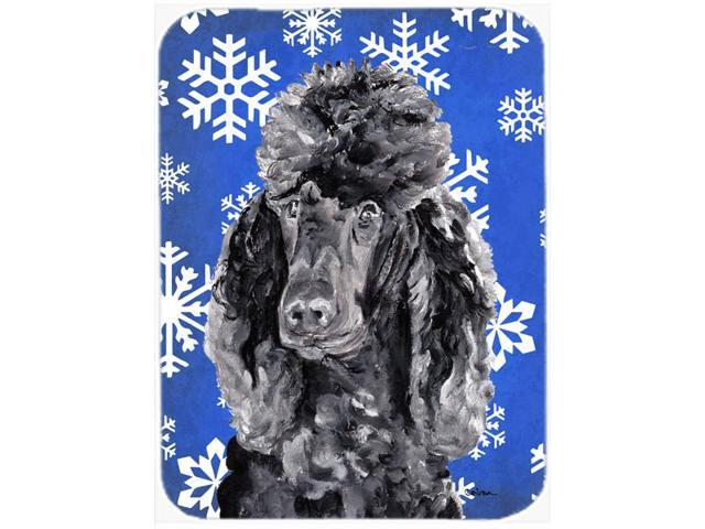 Black Standard Poodle Winter Snowflakes Mouse Pad, Hot Pad or Trivet SC9770MP