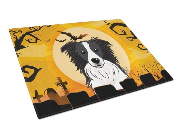Halloween Border Collie Glass Cutting Board Large BB1799LCB