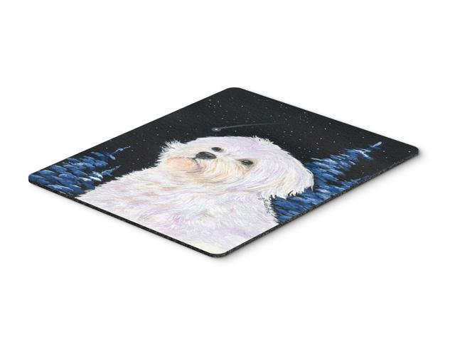 Starry Night Maltese Mouse Pad / Hot Pad / Trivet