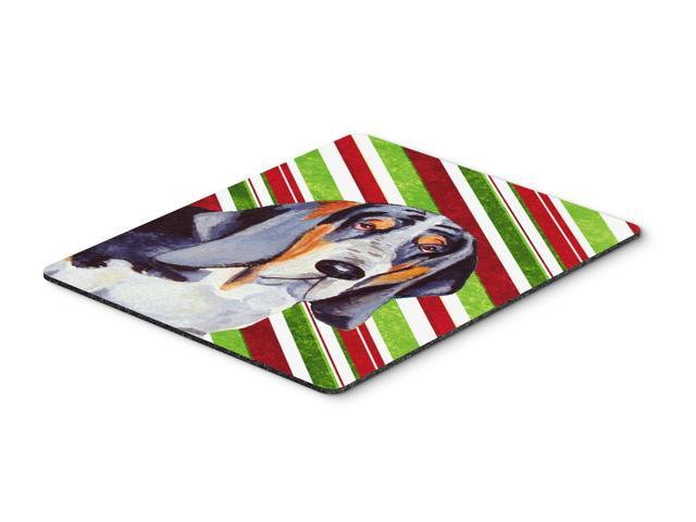 Basset Hound Candy Cane Holiday Christmas Mouse Pad, Hot Pad or Trivet