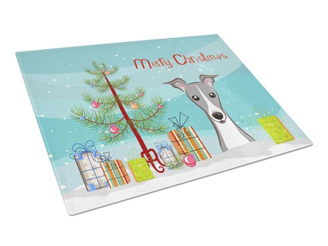 Christmas Tree and Italian Greyhound Glass Cutting Board Large BB1608LCB