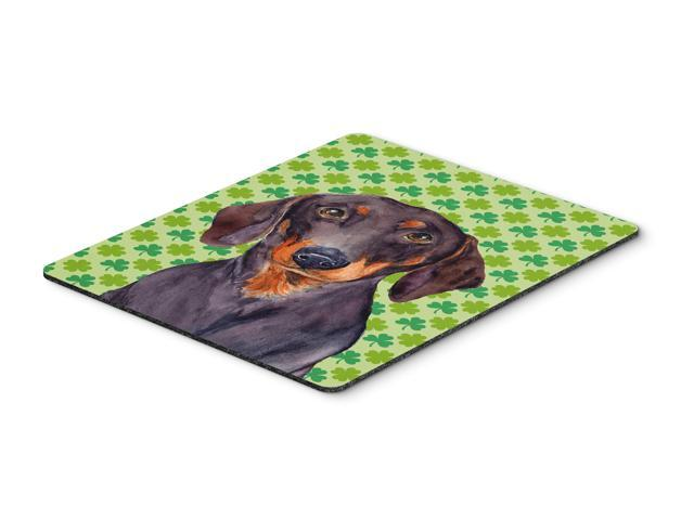Dachshund St. Patrick's Day Shamrock Portrait Mouse Pad, Hot Pad or Trivet