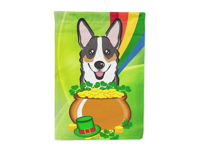 Tricolor Corgi St. Patrick's Day Flag Canvas House Size BB1999CHF