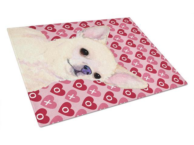 Chihuahua Hearts Love and Valentine's Day Portrait Glass Cutting Board Large