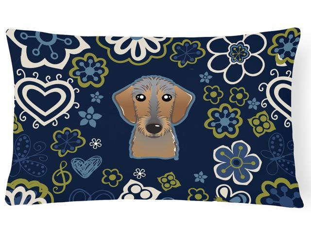 Blue Flowers Wirehaired Dachshund Canvas Fabric Decorative Pillow BB5084PW1216