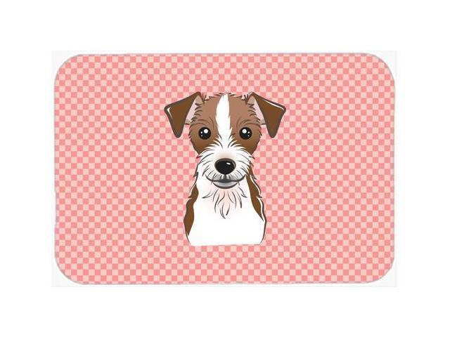 Checkerboard Pink Jack Russell Terrier Mouse Pad, Hot Pad or Trivet BB1202MP