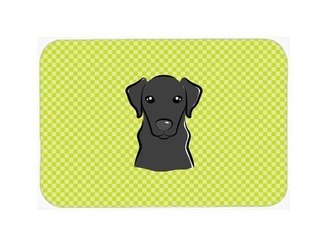 Checkerboard Lime Green Black Labrador Mouse Pad, Hot Pad or Trivet BB1297MP