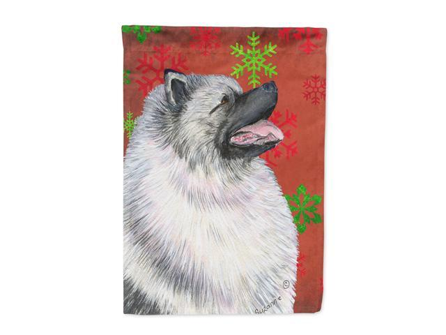 Keeshond Red and Green Snowflakes Holiday Christmas Flag Canvas House Size