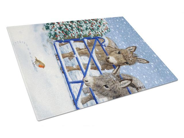 Donkeys and Robin Glass Cutting Board Large ASA2159LCB