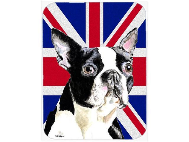 Boston Terrier with English Union Jack British Flag Mouse Pad, Hot Pad or Trivet SC9816MP