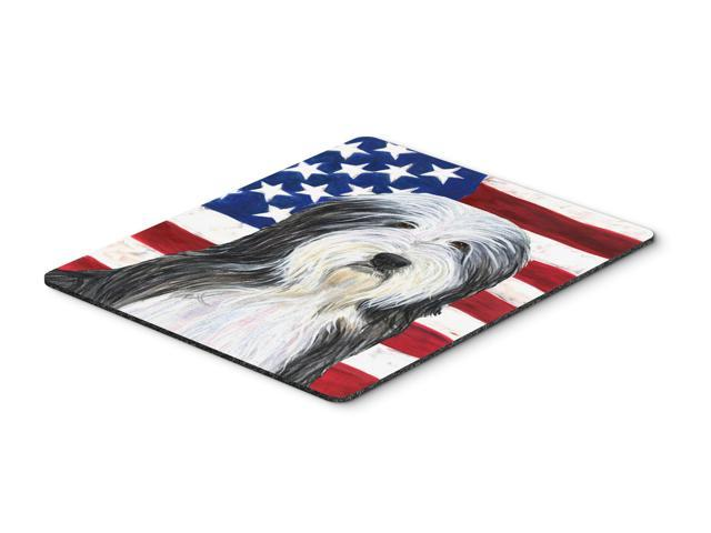 USA American Flag with Bearded Collie Mouse Pad, Hot Pad or Trivet