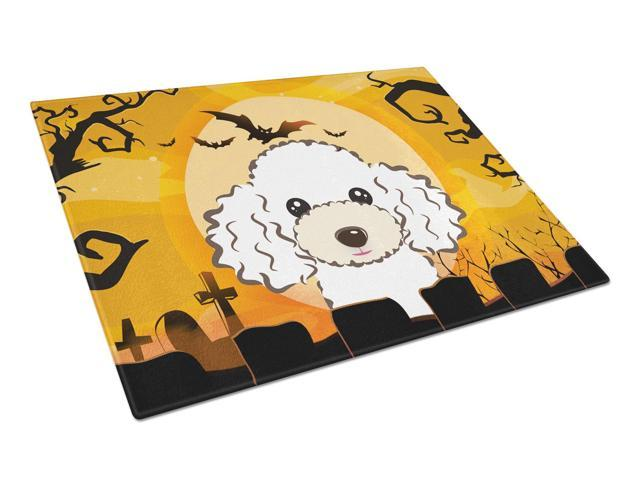 Halloween White Poodle Glass Cutting Board Large BB1815LCB
