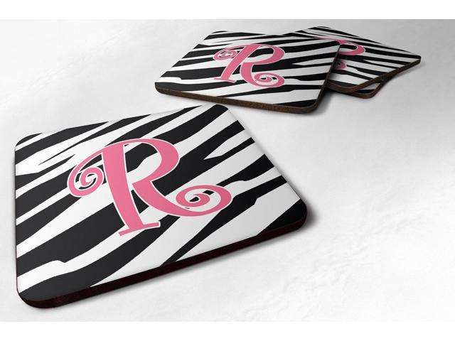 Set of 4 Monogram - Zebra Stripe and Pink Foam Coasters Initial Letter R