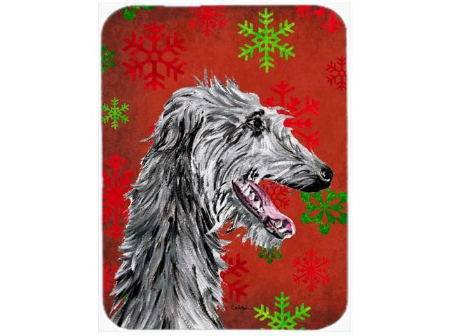Scottish Deerhound Red Snowflakes Holiday Glass Cutting Board Large Size SC9765LCB