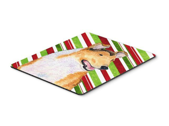 Collie Smooth Candy Cane Holiday Christmas Mouse Pad, Hot Pad or Trivet
