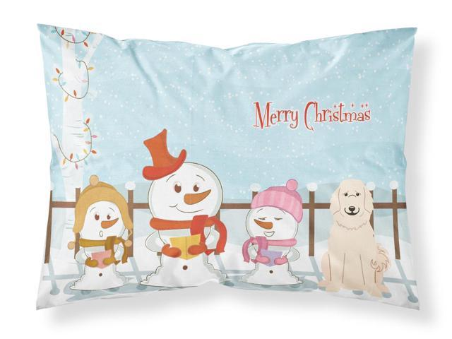Merry Christmas Carolers Great Pyrenese Fabric Standard Pillowcase BB2414PILLOWCASE