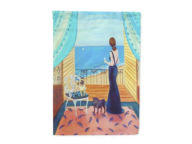 Lady with her Pug Flag Canvas House Size