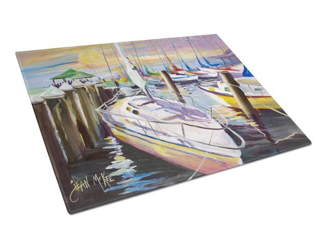 Sailboats at the Fairhope Yacht Club Docks Glass Cutting Board Large JMK1044LCB