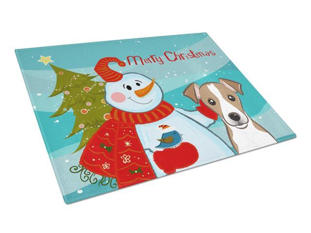 Snowman with Jack Russell Terrier Glass Cutting Board Large BB1880LCB