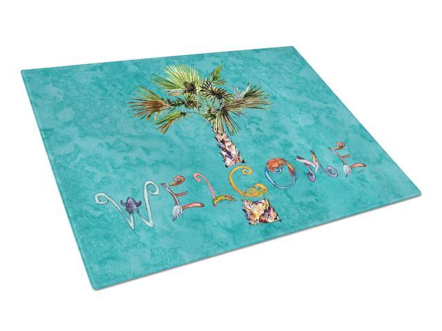 Welcome Palm Tree on Teal Glass Cutting Board Large 8711LCB