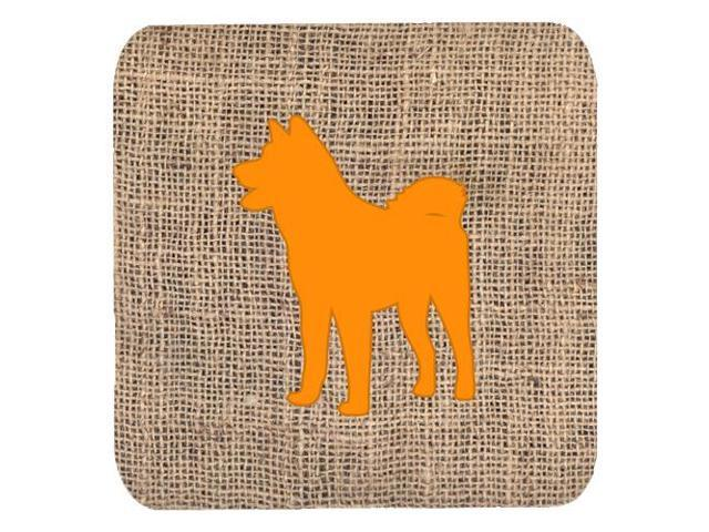 Set of 4 Akita Burlap and Orange Foam Coasters