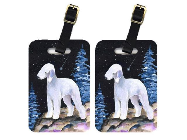 Starry Night Bedlington Terrier Luggage Tags Pair of 2