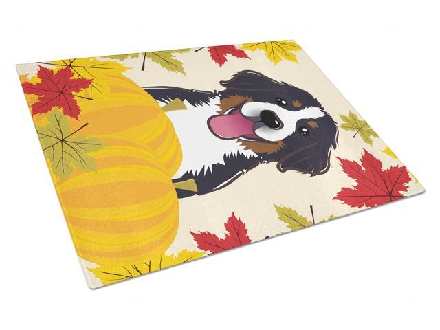 Bernese Mountain Dog Thanksgiving Glass Cutting Board Large BB2043LCB