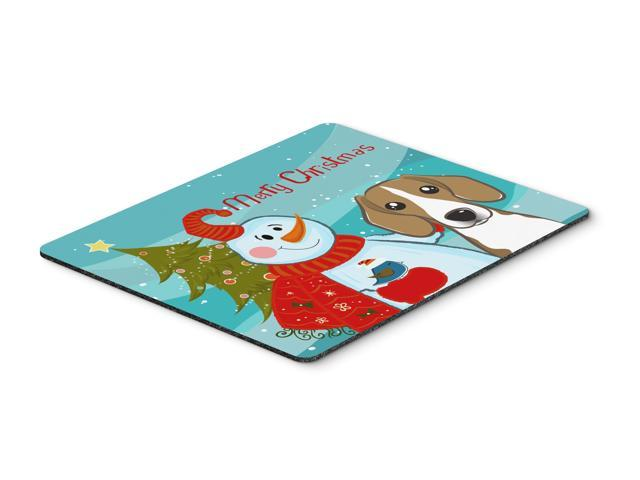 Snowman with Beagle Mouse Pad, Hot Pad or Trivet BB1859MP