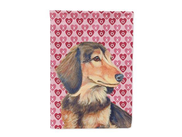 Dachshund Hearts Love Valentine's Day Flag Canvas House Size