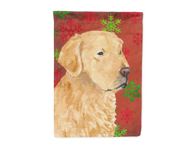 Golden Retriever Red Green Snowflakes Holiday Christmas Flag Canvas House Size