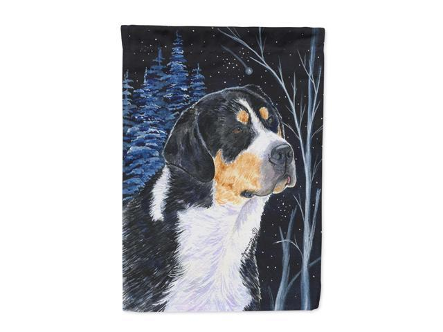 Starry Night Bernese Mountain Dog Flag Canvas House Size