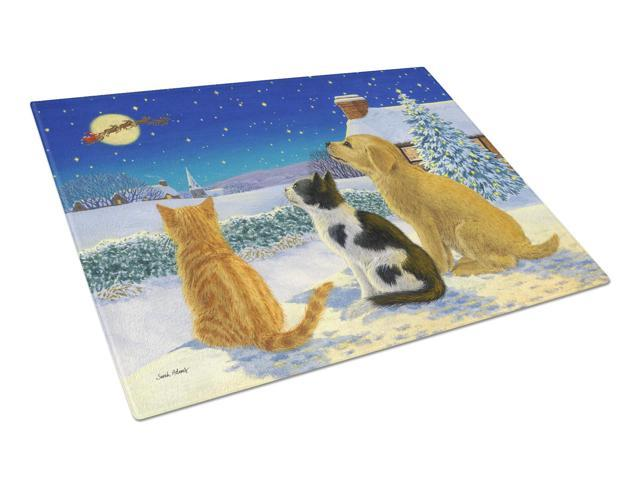 Golden Retriever and kittens Watching Santa Glass Cutting Board Large ASA2208LCB