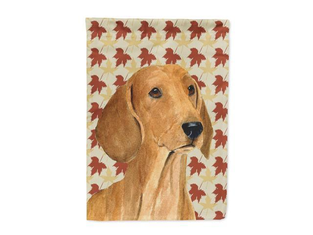 Dachshund Fall Leaves Portrait Flag Canvas House Size