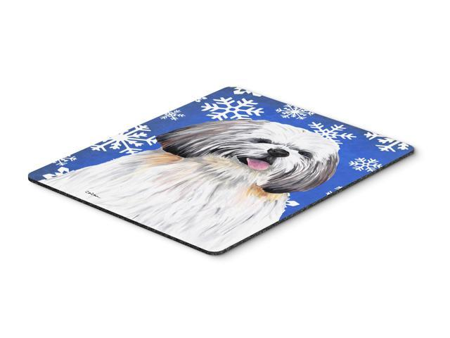 Shih Tzu Winter Snowflakes Holiday Mouse Pad, Hot Pad or Trivet