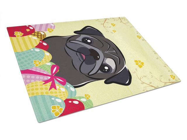 Black Pug Easter Egg Hunt Glass Cutting Board Large BB1945LCB