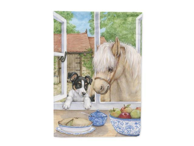Jack Russel Puppy and Foal Horse Flag Garden Size CDCO0379GF